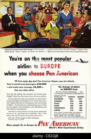 American magazine advertisement circa 1954 advertising PAN AMERICAN AIRLINE flights to Europe - Stock Photo