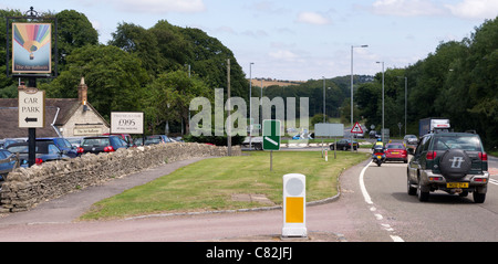 Traffic congestion at the air balloon roundabout - Stock Photo