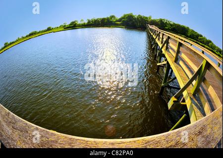 Wooden pier jutting into marshland bay, taken with 180 degree fish eye lens, NY, USA - Stock Photo