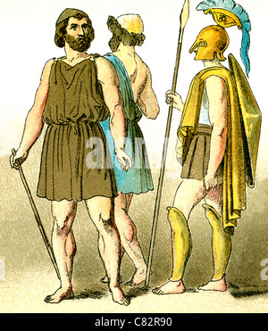 These illustrations of ancient Greeks represent, from left to right: a two commoners and a warrior. - Stock Photo