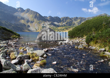 Valley of the 5 lakes, in the Tatra mountains of Poland. Stream leading away from lake Wielki. - Stock Photo