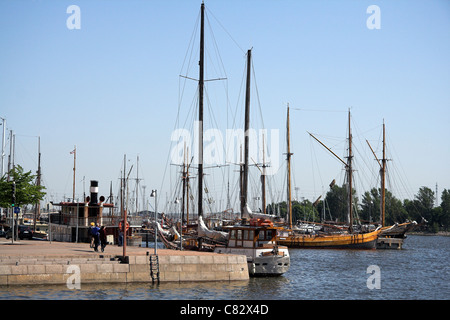 Norra hamnen, tall ships moored in the North Harbour, Helsinki, Finland - Stock Photo