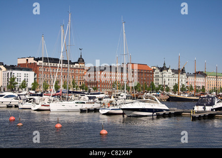Norra hamnen, yachts moored in the North Harbour, Helsinki, Finland - Stock Photo