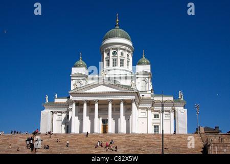 Steps leading up to Helsinki Cathedral, Senate Square, Helsinki, Finland - Stock Photo