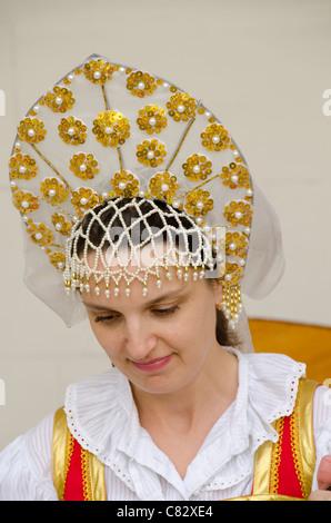 Ukraine, Yalta, Livadia Palace. Ukrainian folkloric show with traditional costumes. - Stock Photo