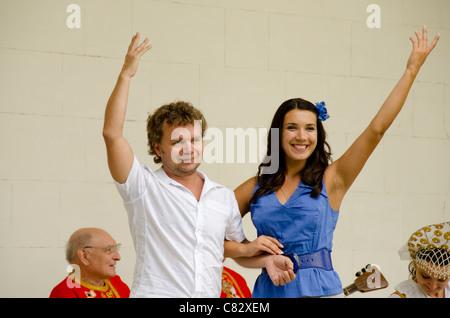 Ukraine, Yalta, Livadia Palace. Ukrainian folkloric show, concert singers. - Stock Photo