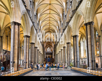 Nave of Salisbury Cathedral, Salisbury, Wiltshire, England, UK - Stock Photo