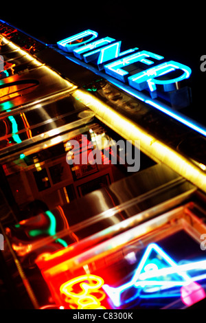 Neon light of a classic 1950's diner, in Miami Beach, Florida, USA - Stock Photo