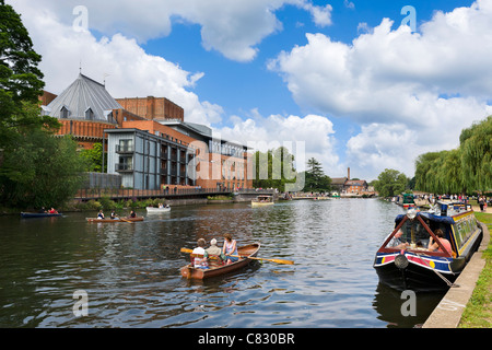 Rowing boat on the River Avon in front of The Royal Shakespeare & Swan Theatres, Stratford-upon-Avon, Warwickshire, - Stock Photo