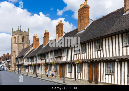 Historic houses along Church Street in the old town, Stratford-upon-Avon, Warwickshire, England, UK - Stock Photo