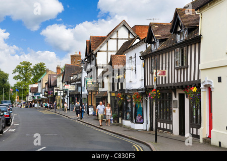 Shops on Sheep Street in the historic centre, Stratford-upon-Avon, Warwickshire, England, UK - Stock Photo