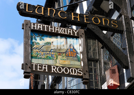 Sign for the Hathaway Tea Rooms on the High Street in the town centre, Stratford-upon-Avon, Warwickshire, England, - Stock Photo