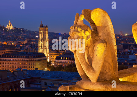 France, Paris, view over Paris from Notre Dame Cathedral - Stock Photo