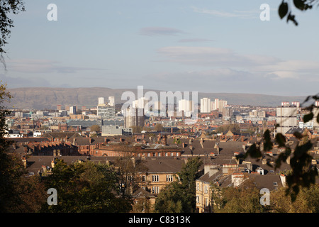 View looking North over the city of Glasgow Skyline from Queen's Park, Scotland, UK