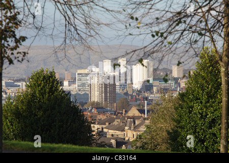Glasgow cityscape, view looking North from Queen's Park, Scotland, UK