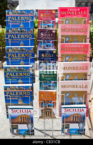 Palermo and Monreale guide books for sale, Palermo, Sicily, Italy - Stock Photo