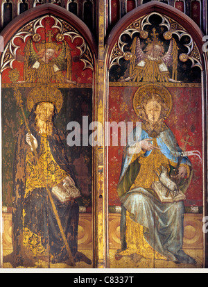 Ranworth, Norfolk, rood screen, St.Etheldreda and St. Agnes, overpainted as John the Baptist, English medieval screens - Stock Photo