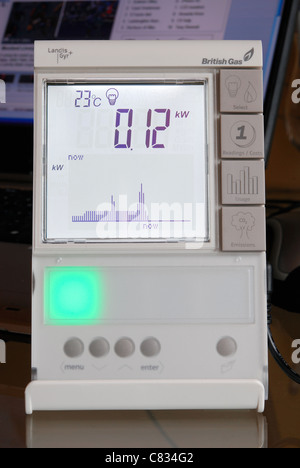 A domestic British Gas Smart Meter in 'electricity' mode, with green light indicating low energy consumption. UK - Stock Photo
