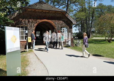 Boat arrival and departure area, Herreninsel Chiemgau Upper Bavaria Germany - Stock Photo