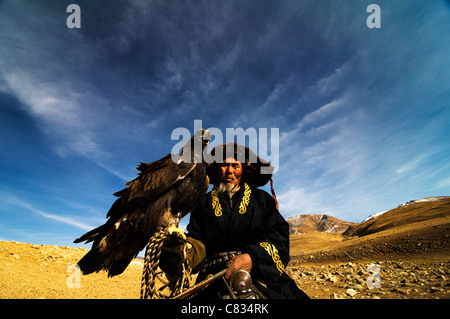 A Kazakh eagle hunter. - Stock Photo
