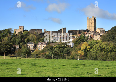 Richmond town walls and castle, North Yorkshire, England, UK - Stock Photo