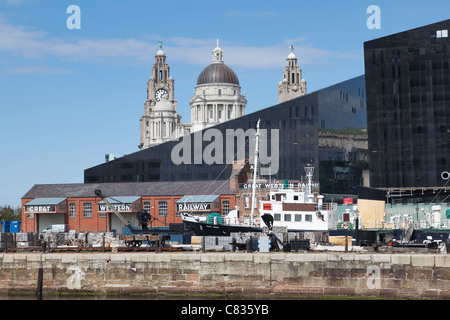 Liverpool's historic waterfront with Royal Liver Building in background - Stock Photo