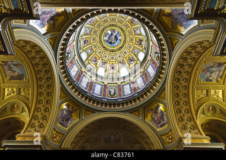 Dome of the Saint Stephen Basilica in Budapest, Hungary - Stock Photo