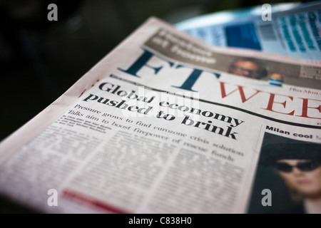 Austerity hits - Financial Times, Financial Crisis headlines: Global Economy Pushed to Brink -headlines - Stock Photo