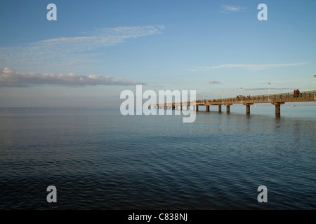the Seebruecke or Pier at the baltic beach of the seaside resort Ahlbeck, Usedom island, Mecklenburg-Vorpommern, - Stock Photo