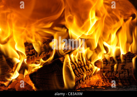 Burning wood fire close-up - Stock Photo