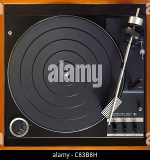 Record player (1970s/80s)  NB Record arm is at the position for the start of a 33 rpm LP (Disc of choice can be - Stock Photo