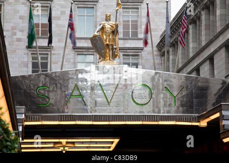 Savoy Hotel Exterior, London, England - Stock Photo