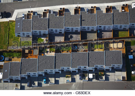 Aerial view of houses on suburban street - Stock Photo