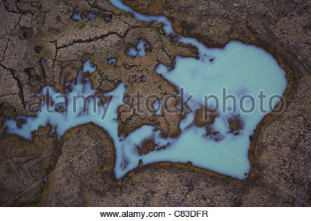 Aerial view of lake in lava field - Stock Photo