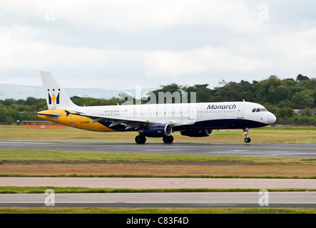Monarch Airlines Airbus A321-231 Airliner G-OZBR Taking Off From Manchester International Airport England United - Stock Photo