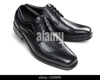 Pair of black mens dress shoes isolated on white background - Stock Photo