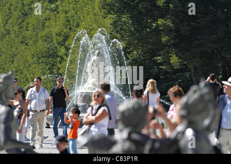 Tourists in the Herrenchiemsee Gardens, Herreninsel Chiemsee Chiemgau Upper Bavaria Germany - Stock Photo