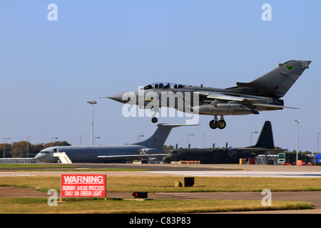 The Tornado GR4 is a variable geometry, two-seat, day or night, all-weather attack aircraft, Landing at RAF Waddington - Stock Photo