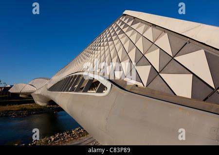 Bridge pavilion designed by Zaha Hadid, Zaragoza, Aragon, Spain - Stock Photo