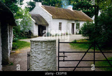The Mallon Homestead at The Ulster American Folk Park near Omagh Northern Ireland - Stock Photo