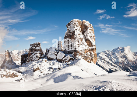 Snow covered rock formations - Stock Photo