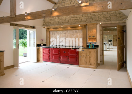 New red aga cooker stock photo royalty free image for Red fitted kitchen