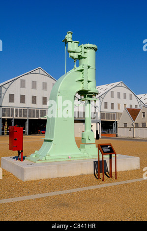 Steam hammer at Chatham Historic Dockyard Kent England UK - Stock Photo