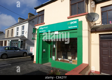 green an post irish postal service post office in main street of small rural town of enniscrone county sligo republic - Stock Photo