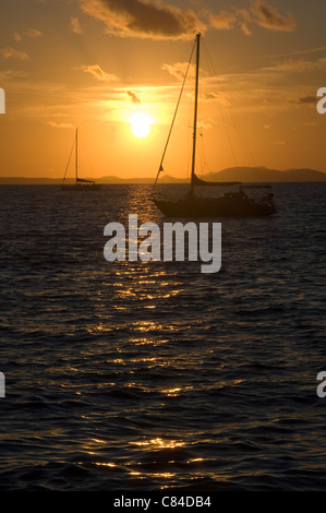 Mallorca, Bay of Palma, yachts at sunset - Stock Photo