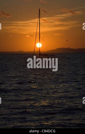 Mallorca, Bay of Palma, yacht at sunset - Stock Photo