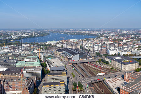 view of Aussenalster and main train station from Highflyer, Hamburg, Germany - Stock Photo