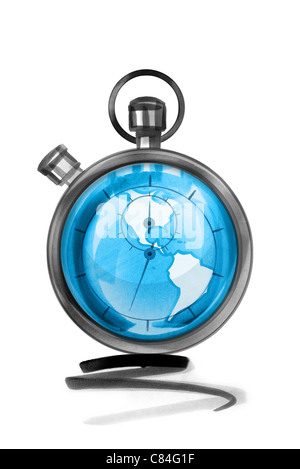 Globe in stopwatch - Stock Photo