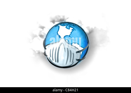 Earth with mask, smoke in background - Stock Photo