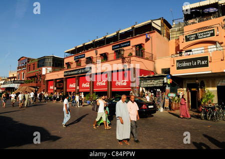 Cafes and Restaurants on Place Djemaa el Fna, Marrakech, Morocco - Stock Photo